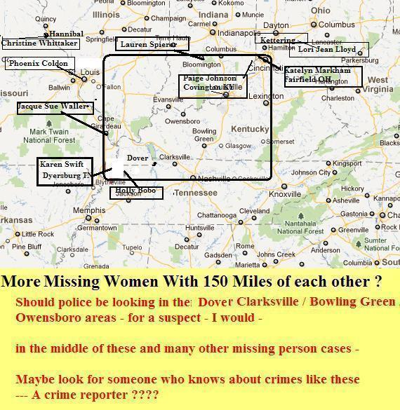 note dover tn is near the middle of all these disappearances